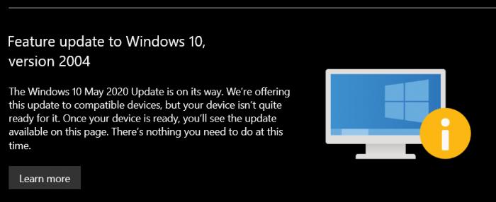 如果设备被阻止接收功能更新 微软Windows 10将这样提示用户