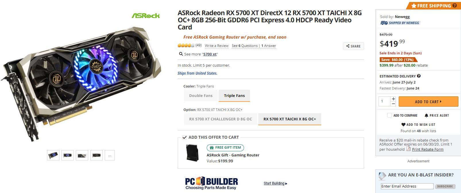 为big Navi让路?RX 5700 XT显卡首次跌破400美元