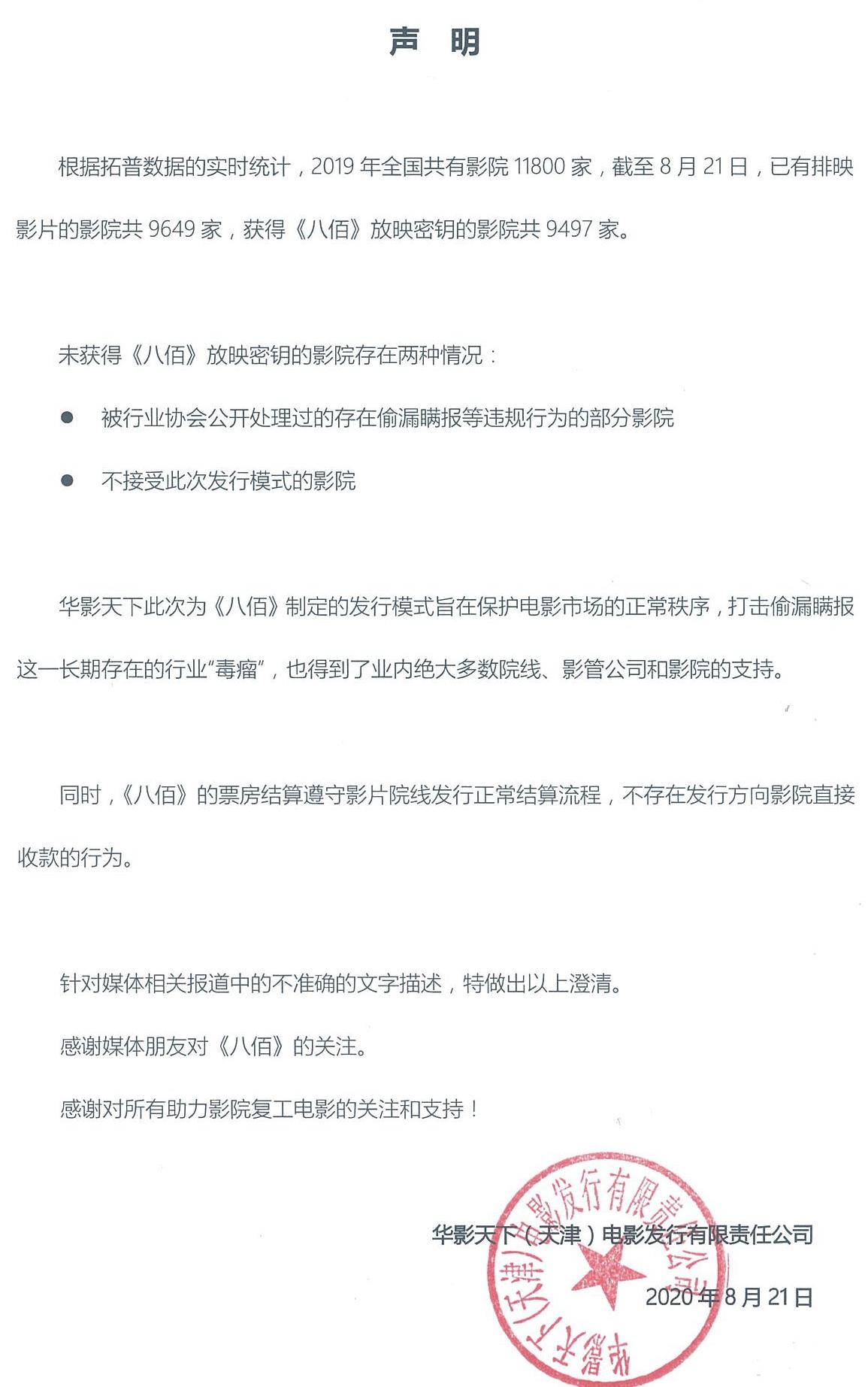 华谊辟谣《八佰》上映霸王条款 称想保护电影市场