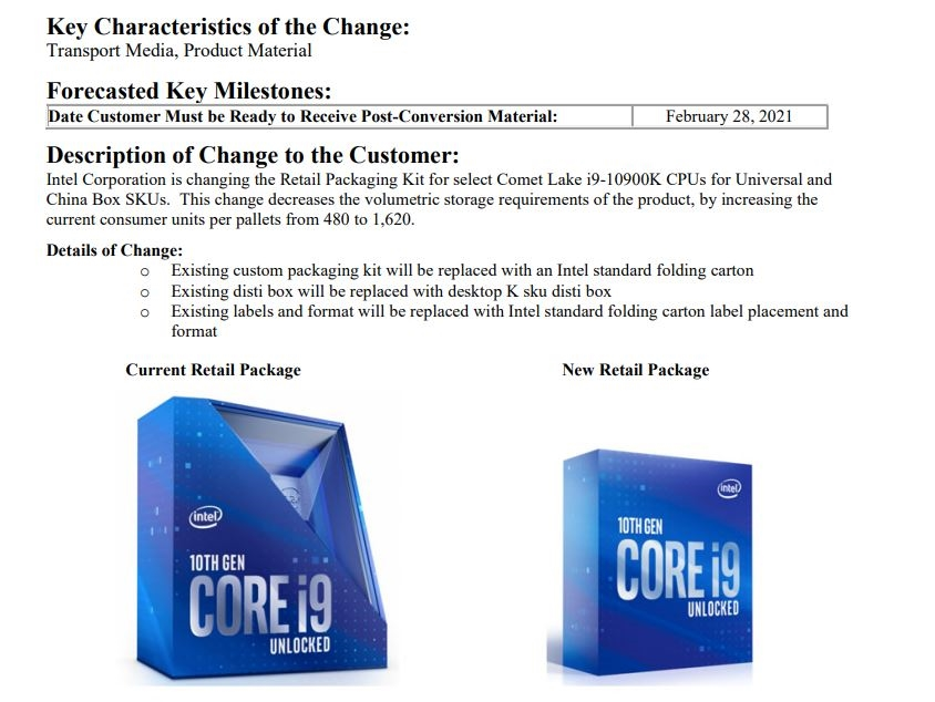 "Intel变更酷睿i9-10900K包装盒:""小露香肩""没了 物流可多运两倍货"